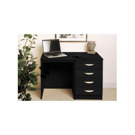 image-Small Office Desk Set With 4 Standard Drawers (Black Havana)