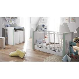 image-Nandini 2 Piece Nursery Furniture Set Vladon Colour: Jade green (matt), Bed frame included: Yes