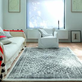 image-Chelsea Patterned Grey and Cream Rug 200cm x 290cm