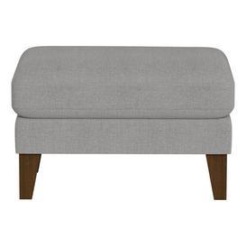 image-Debenhams Tweedy Weave 'Carnaby' Footstool - dark grey - H43 x W70 x D50cm - Tweedy weave, dark wood feet