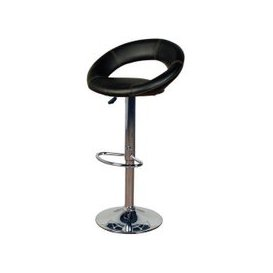 image-Eclipse Bar Stool (Pair) - Black Faux Leather and Chrome