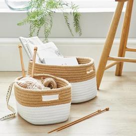 image-Set of 2 Cotton Rope Storage Baskets Natural