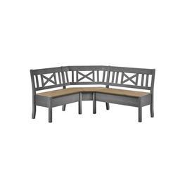 image-Pols Wooden Storage Bench August Grove Colour: White/Grey, Size: 93cm H x 170cm W x 147cm D, Arm track: Without armrest