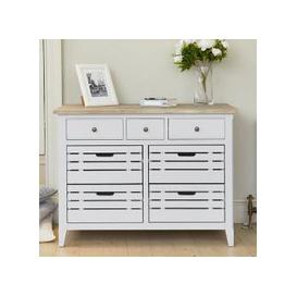 image-Krista Wooden Compact Sideboard In Grey With 7 Drawers