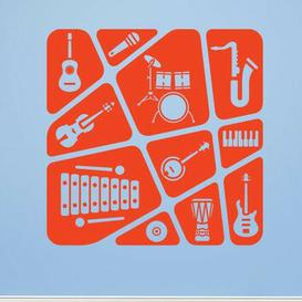 image-Kids Music Collage Wall Sticker East Urban Home Colour: Orange