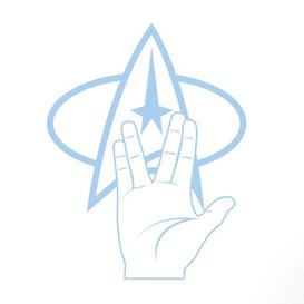 image-Star Trek Logo and Hand Wall Sticker East Urban Home Colour: Light Blue, Size: Large
