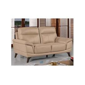 image-Watham 3 Seater Sofa In Taupe Faux Leather With Wooden Legs