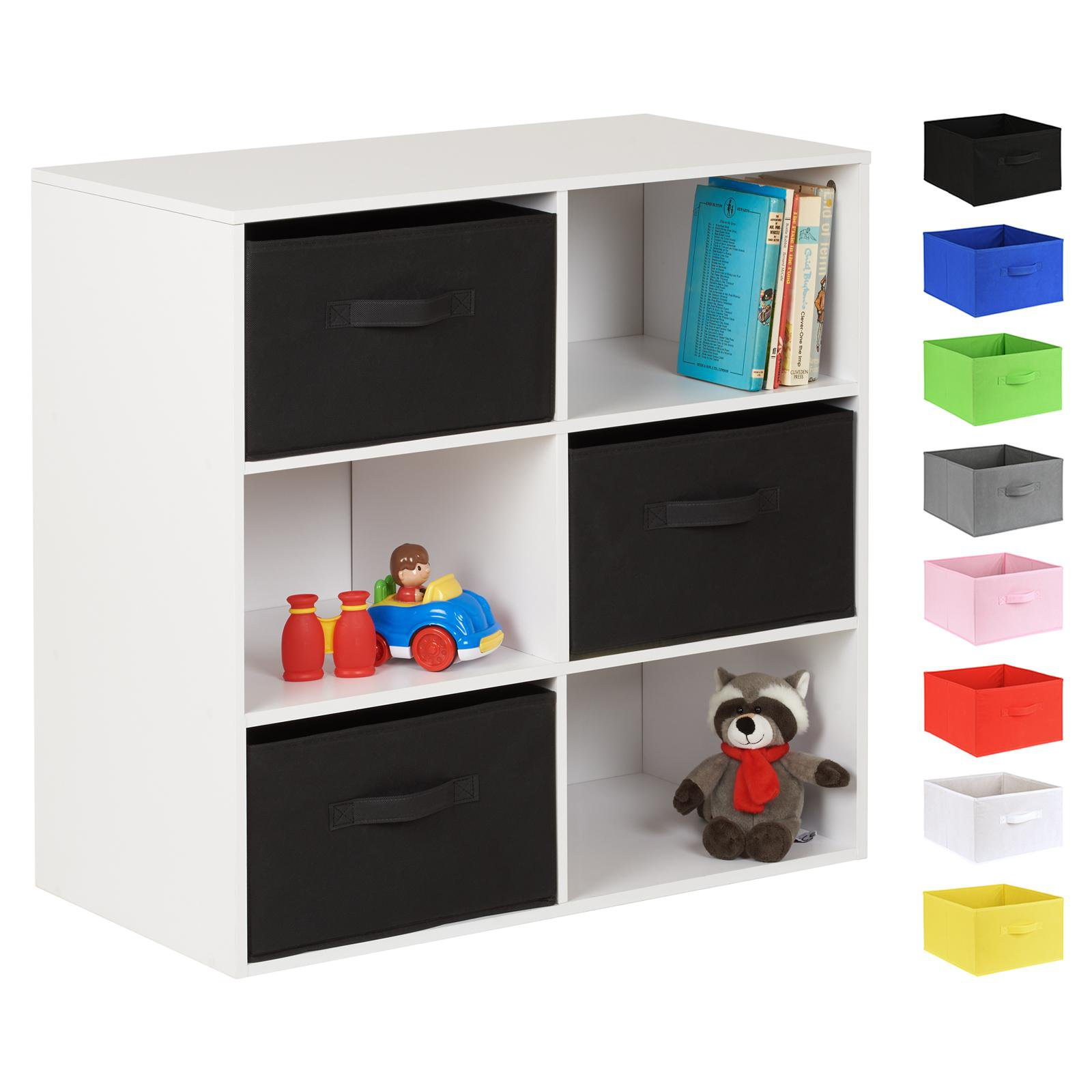 image-Hartleys White 6 Cube Kids Storage Unit & 3 Handled Box Drawers - Black