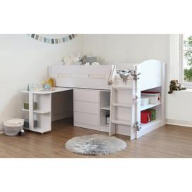 image-Trujillo Single Mid Sleeper Bed with Drawer, Shelves and Bookcase Isabelle & Max Colour (Bed Frame): White