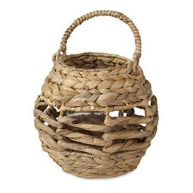 image-Wicker Indoor Rustic Birdcage Shape Candle Holder Lantern with Handle Candle Glass cup, Decorative Candelabra Candle Light Holder for Christmas Wedding Dinning Party Home Decor (Natural) - Brand New