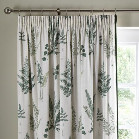 image-Fern Green Pencil Pleat Curtains Green and White