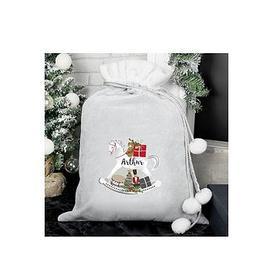 image-Personalised Grey Rocking Horse Christmas Sack