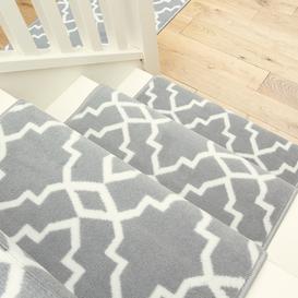 image-Grey Trellis Stair Carpet Runner - Cut to Measure