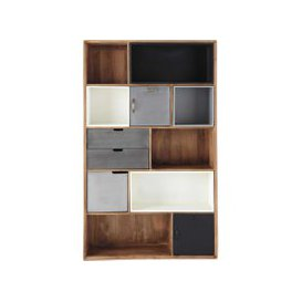 image-Industrial-Style 3-Drawer 2-Door Bookcase Lenox