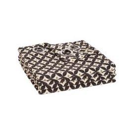 image-Single Eyelet Curtain with Ecru and Black Jacquard Print 140x250