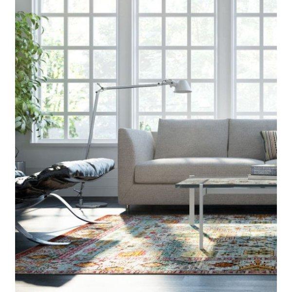 image-Aqua Silk Traditional Patterned Multi Rug 133cm x 190cm
