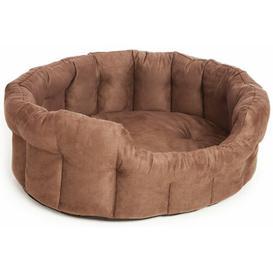 image-Finnley Premium Oval Faux Suede Softee Dog Bed Archie & Oscar Colour: Brown, Size: Intermediate (22 cm H x 61 cm W x 51 cm D)