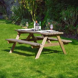 image-Oakham Picnic Table Sol 72 Outdoor Finish: Rustic Brown, Table Size: 150cm L x 140cm W