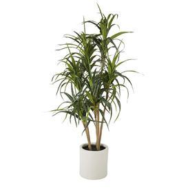 image-Artificial green dracaena plant in white pot H160cm
