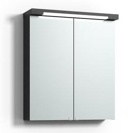 image-Eckhoff 60 x 70cm Surface Mount Flat Mirror Cabinet with Lighting Belfry Bathroom Finish: Black Oak