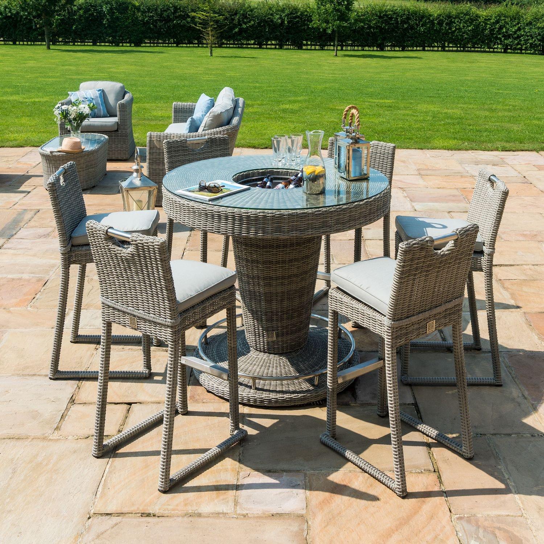 image-Maze Rattan Garden Furniture Oxford 6 Seat Round Bar Set with Ice Bucket