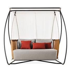 image-Swing Swing seat - / L 205 x H 193 cm by Ethimo White,Grey,Black,Natural teak