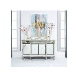 image-Bella 3 Drawer 4 Door Mirror Cabinet Gold Trim