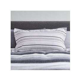 image-Ellis Grey Stripe Oxford Pillowcase Black