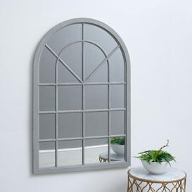 image-Fleur Small Arched Framed Mirror Grey