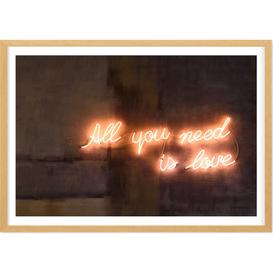 image-All You Need Is Love Neon Typography Framed Wall Art Print A1, Multi