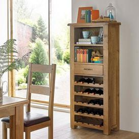 image-Earls Wooden Tall Wine Rack In Chunky Solid Oak With 1 Drawer