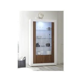 image-Nitro 2 Doors LED Display Cabinet In White Gloss And Dark Walnut