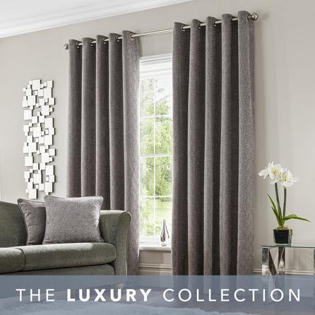 image-Abstract Chenille Dove Grey Eyelet Curtains Grey