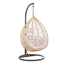 image-Destiney Arsita Swing Chair with Stand Freeport Park Colour (Frame): Beige, Colour (Cushion): Light Pink