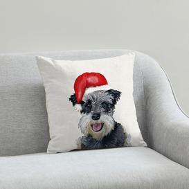 image-Schnauzer Christmas Hat Cushion Natural