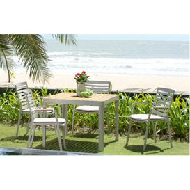 image-Portals Aluminium and Teak Outdoor Square Dining Set by Lifestyle Garden