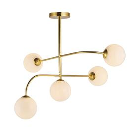 image-Riley LED dimmable 5-light semi flush in brushed brass with gloss opal ball shades - 86945.