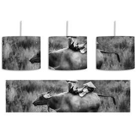 image-Water Buffalo Carrying Child 1-Light Drum Pendant East Urban Home Shade colour: Black/White