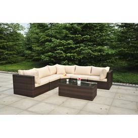 image-Titcomb 5 Seater Rattan Sofa Set Sol 72 Outdoor Colour (Frame): Dark Brown