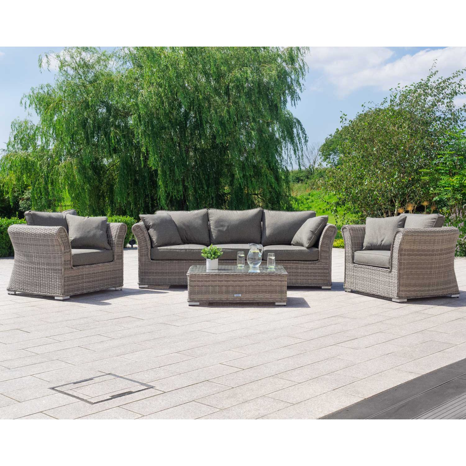image-Lisbon 3 Seat Rattan Garden Sofa Set in Grey