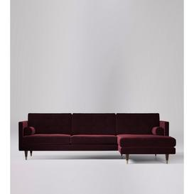 image-Swoon Porto Corner Sofa in Bordeaux Easy Velvet With Dark Feet