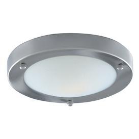 image-Searchlight 1131-31SS Satin Silver Flush 31cm Bathroom Light I.P44