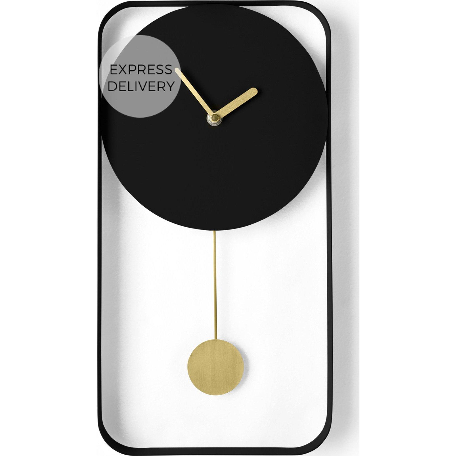 image-Bard Pendulum Wall Clock, Matt Black & Brass