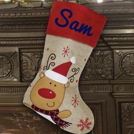 image-Reindeer Personalised Christmas Stocking East Urban Home Colour: Navy Blue