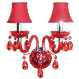 image-Santurius 2-Light Candle Wall Light Astoria Grand Colour: Dark Red