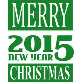 image-Merry Christmas, New Year Wall Sticker East Urban Home Colour: Light green, Size: 40 cm H x 50 cm W