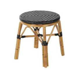 image-Professional Black Woven Resin Garden Stool Kafe Business