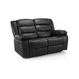 image-Whitfield 2 Seater Leather Reclining Sofa Black