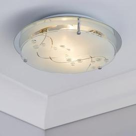 image-2 Light Glass Flush Ceiling Fitting White