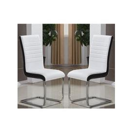 image-Symphony Dining Chair In White And Black PU In A Pair